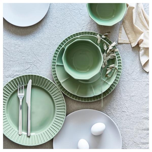 STRIMMIG deep plate stoneware green 5 cm 23 cm