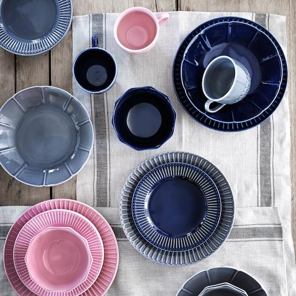 STRIMMIG Plate, earthenware grey, 27 cm