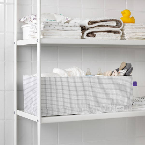 STUK box with compartments white/grey 20 cm 51 cm 18 cm