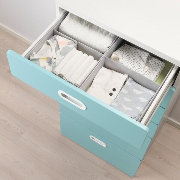 STUVA / FRITIDS chest of 6 drawers white/light blue 60 cm 50 cm 128 cm