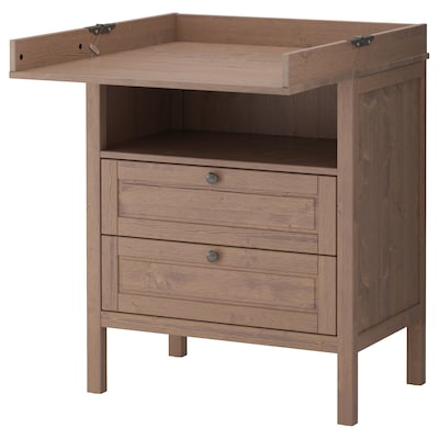 SUNDVIK changing table/chest of drawers grey-brown 79 cm 51 cm 87 cm 46 cm 99 cm 108 cm 18 cm 15 kg