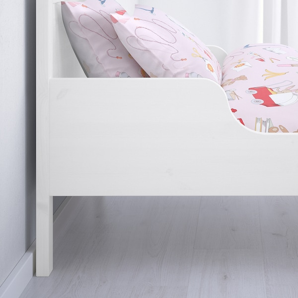 SUNDVIK Ext bed frame with slatted bed base, white, 80x200 cm