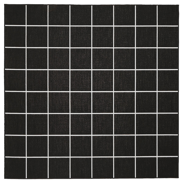 SVALLERUP rug flatwoven, in/outdoor black/white 200 cm 200 cm 5 mm 4.00 m² 1555 g/m²