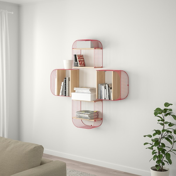 SVENSHULT Wall shelf with storage, brown-red/white stained oak effect, 41x20 cm