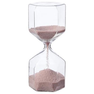 TILLSYN Decorative hourglass, clear glass/light pink, 16 cm