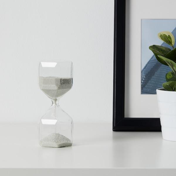 TILLSYN Decorative hourglass, clear glass/white, 16 cm