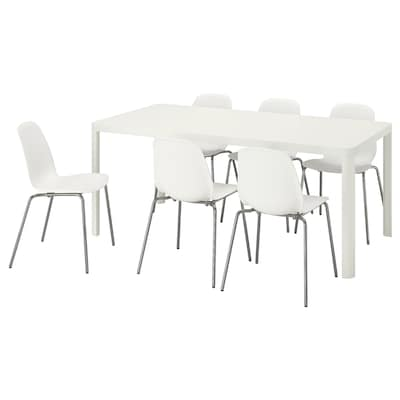 TINGBY / LEIFARNE Table and 6 chairs, white/white, 180x90 cm