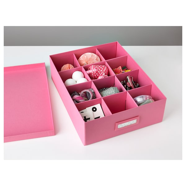 TJENA Box with compartments, pink, 27x35x10 cm