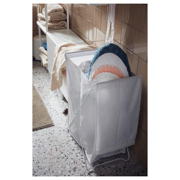 TORKIS Laundry basket, white/grey, 90 l
