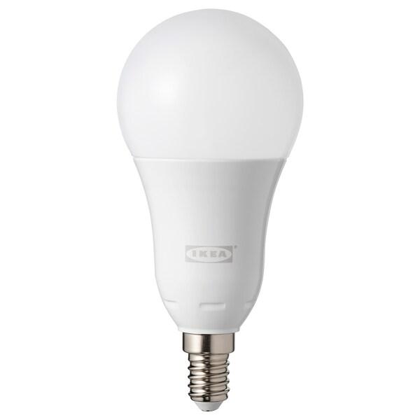 TRÅDFRI LED bulb E14 600 lumen wireless dimmable colour and white spectrum/globe opal white 600 lm 2700 K 129 mm 60 mm 8.6 W