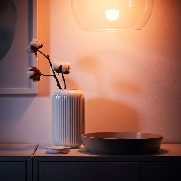 TRÅDFRI LED bulb E27 806 lumen, wireless dimmable colour and white spectrum/globe opal white