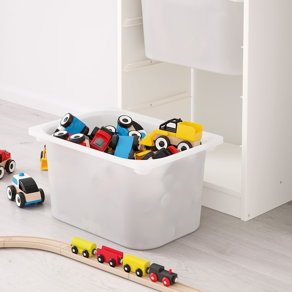 TROFAST storage combination with boxes white/white turquoise 46 cm 30 cm 145 cm