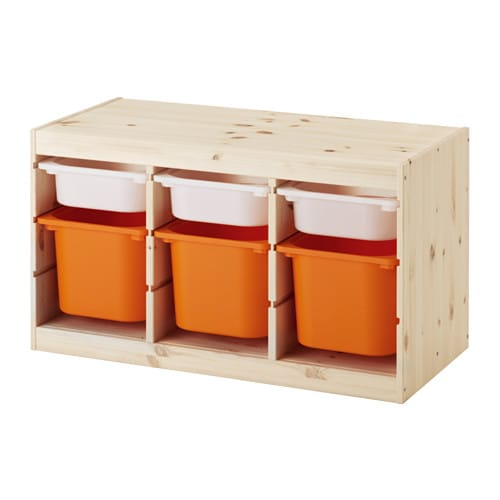 Trofast Storage Combination With Boxes Light White Stained Pine White Orange