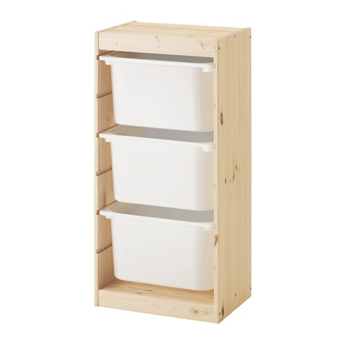 Trofast Storage Combination With Boxes Light White Stained Pine White