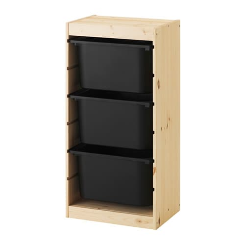Trofast Storage Combination With Boxes Light White Stained Pine Black