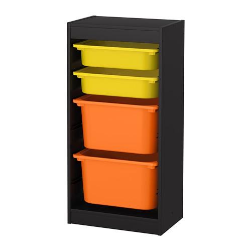 Trofast Storage Combination With Boxes Black Yellow Orange