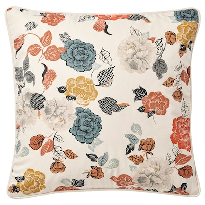 TROLLMAL Cushion cover, natural/flower patterned, 50x50 cm