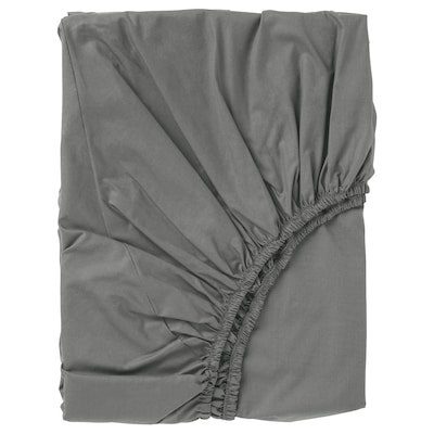 ULLVIDE Fitted sheet, grey, 140x200 cm