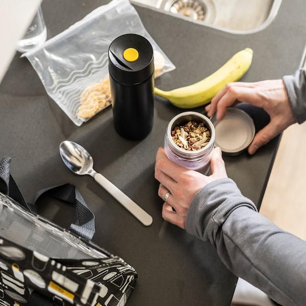 UNDERSÖKA Insulated travel mug, black, 0.4 l