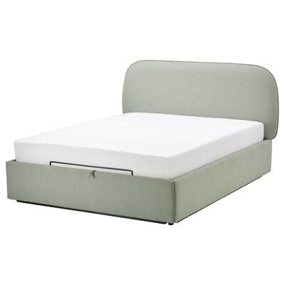 VADHEIM Upholstered ottoman bed, Gunnared light green, 160x200 cm