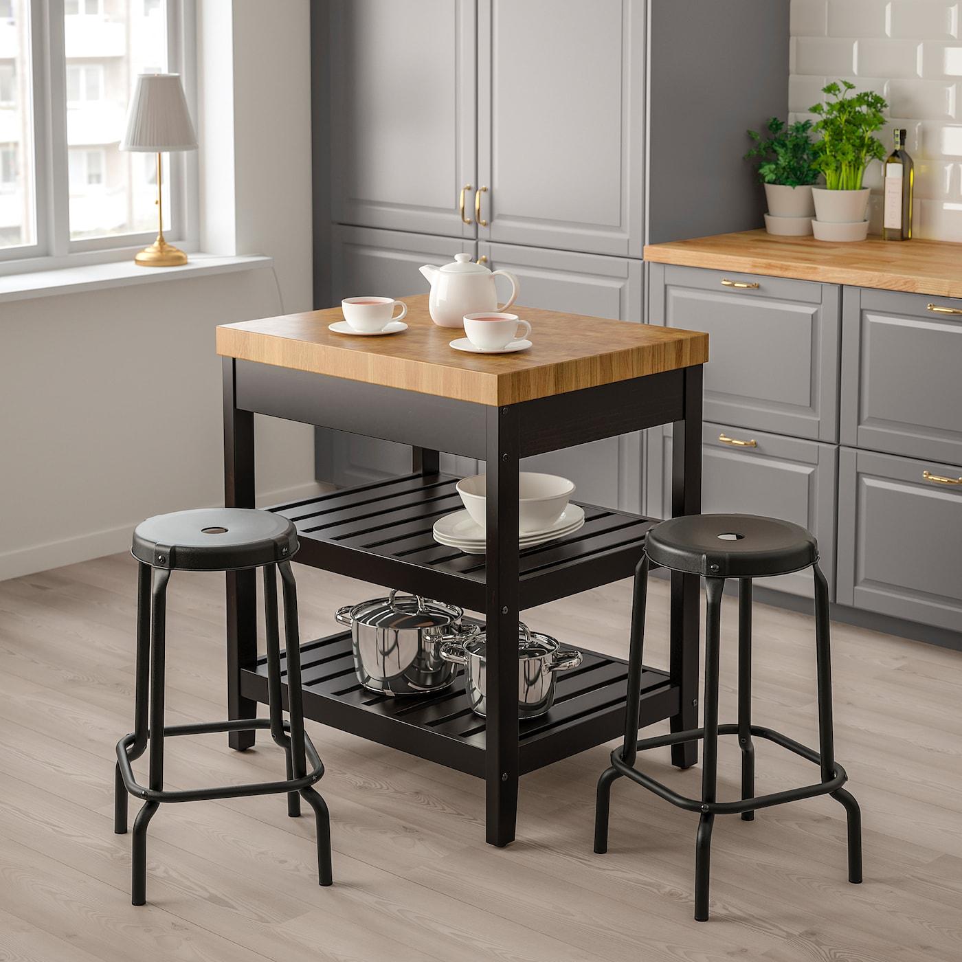 VADHOLMA kitchen island black/oak 79 cm 62.5 cm 90 cm
