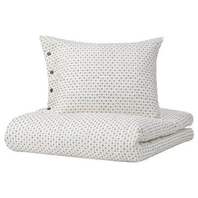 VÄGTÅG Quilt cover and 2 pillowcases, white/dark brown, 240x220/50x60 cm