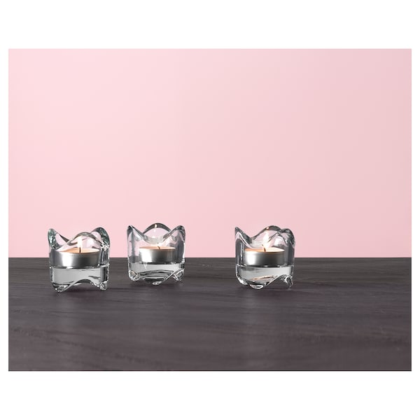 VÄSNAS tealight holder clear glass 6 cm 6 cm
