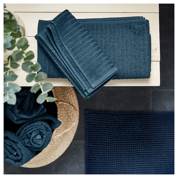 VÅGSJÖN bath sheet dark blue 150 cm 100 cm 1.50 m² 400 g/m²