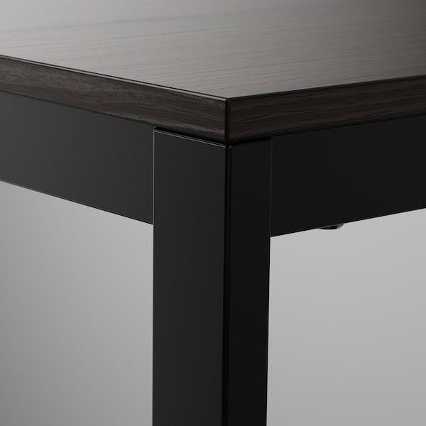 VANGSTA / KARLJAN Table and 2 chairs, black dark brown/Kabusa dark grey, 80/120 cm