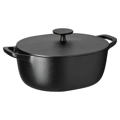 VARDAGEN Casserole with lid, cast iron, 5 l
