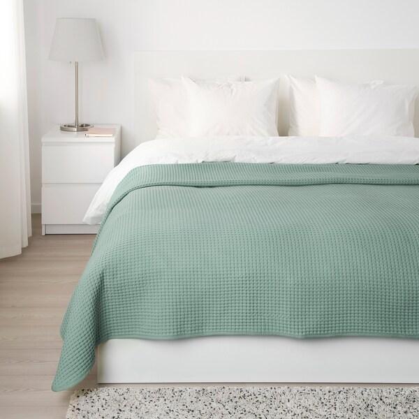 VÅRELD Bedspread, light grey-green, 230x250 cm