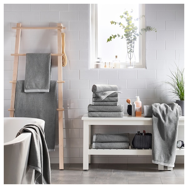 VIKFJÄRD bath sheet grey 150 cm 100 cm 1.50 m² 475 g/m²