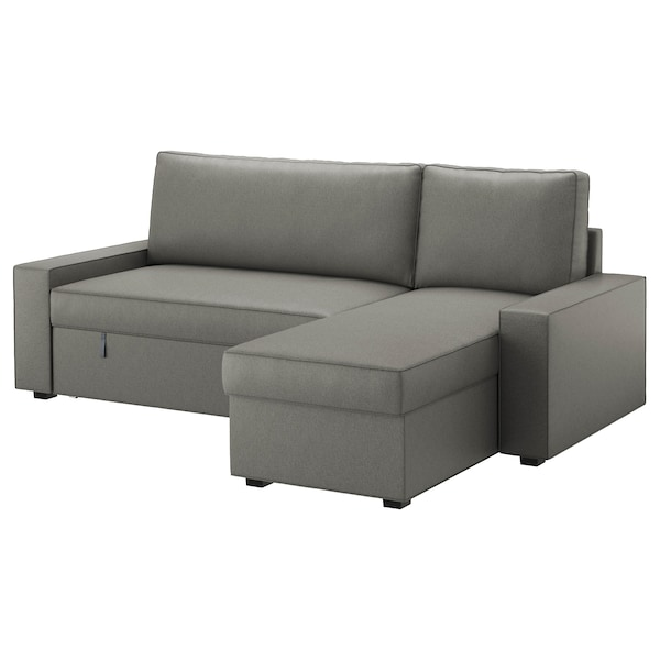 VILASUND cover sofa-bed with chaise longue Borred grey-green