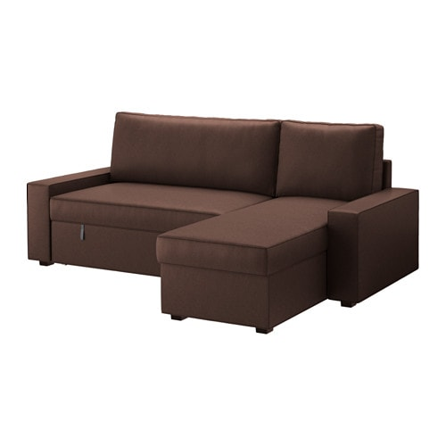 Vilasund sofa bed with chaise longue borred dark brown for Chaise longue sofa bed ikea