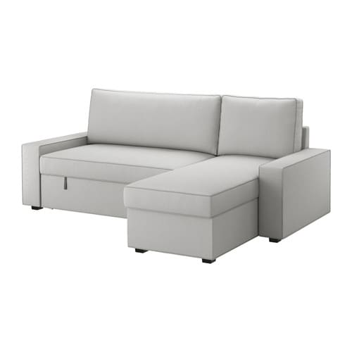 Vilasund sofa bed with chaise longue orrsta light grey for Sofa cama chaise longue piel