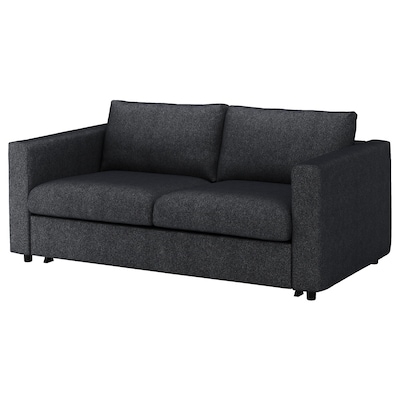 VIMLE 2-seat sofa-bed Tallmyra black/grey 53 cm 83 cm 68 cm 190 cm 98 cm 241 cm 55 cm 48 cm 140 cm 200 cm 12 cm