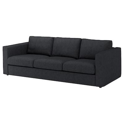 VIMLE 3-seat sofa Tallmyra black/grey 83 cm 68 cm 241 cm 98 cm 6 cm 15 cm 68 cm 211 cm 55 cm 48 cm