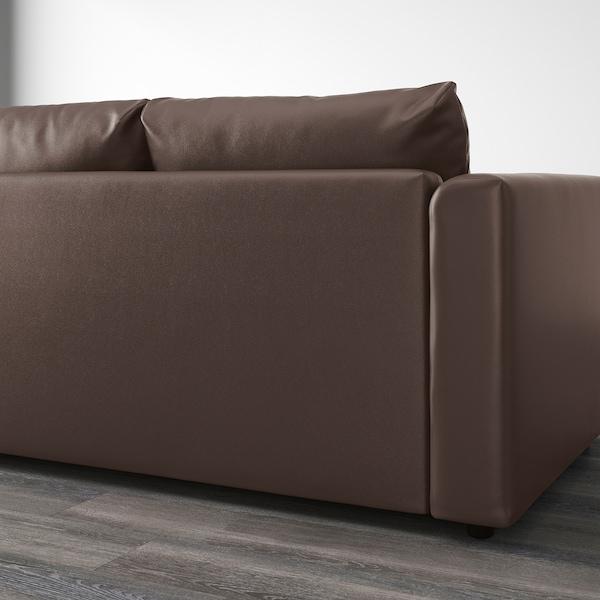 VIMLE 3-seat sofa with chaise longue/Farsta dark brown 80 cm 164 cm 252 cm 98 cm 125 cm 4 cm 15 cm 65 cm 222 cm 55 cm 45 cm