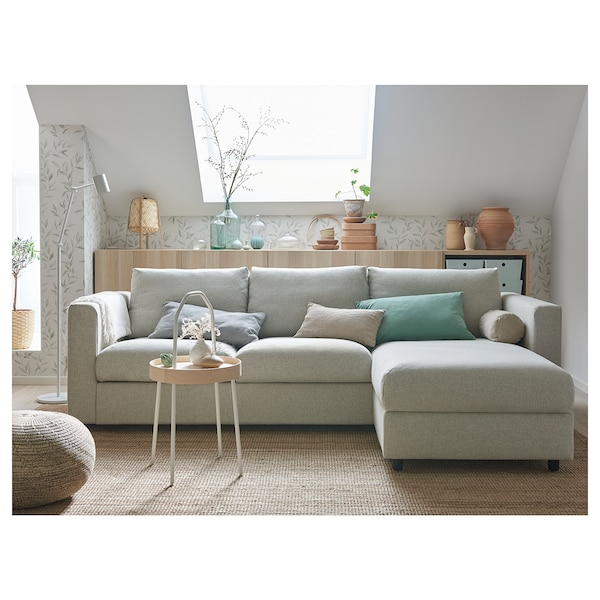 VIMLE 3-seat sofa, with chaise longue/Gunnared beige
