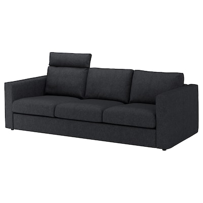 VIMLE 3-seat sofa with headrest/Tallmyra black/grey 103 cm 83 cm 68 cm 241 cm 98 cm 6 cm 15 cm 68 cm 211 cm 55 cm 48 cm