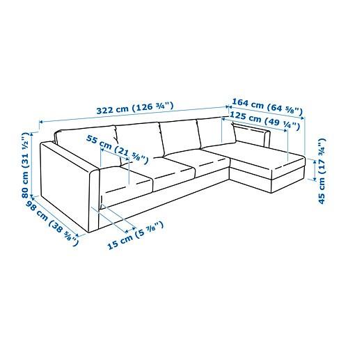 Divano 4 Posti Dimensioni.Vimle 4 Seat Sofa With Chaise Longue Farsta Dark Brown
