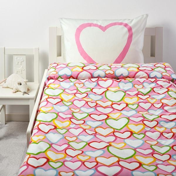 VITAMINER HJÄRTA quilt cover and pillowcase multicolour 200 cm 150 cm 50 cm 60 cm
