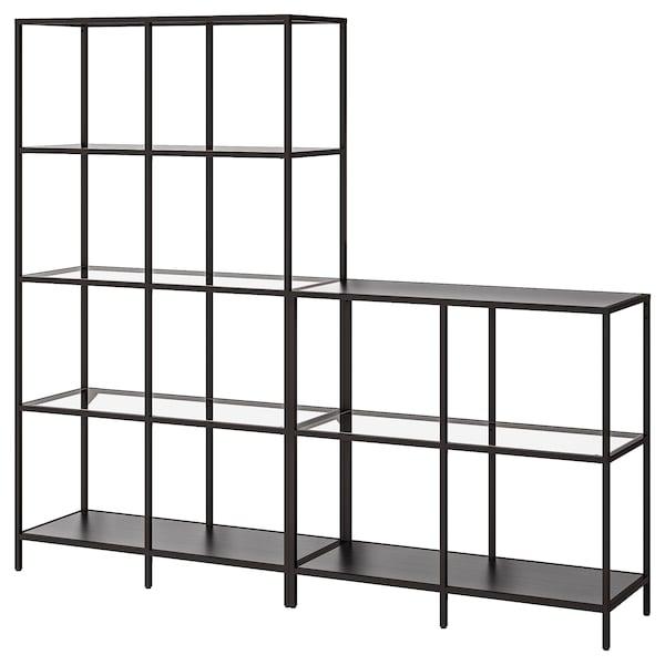 VITTSJÖ Storage combination, black-brown/glass, 200x36x175 cm