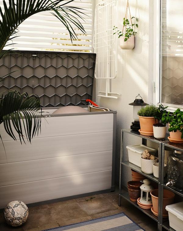 VRENEN Storage box, outdoor, light grey/grey, 156x71x93 cm/819 l