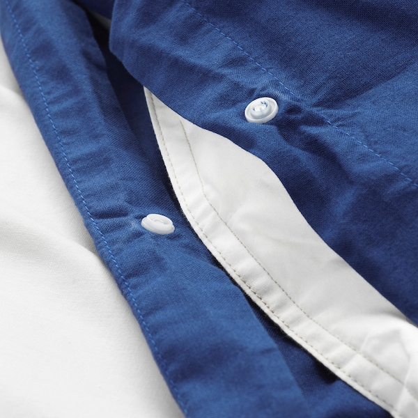 ÄNGSLILJA Capa de edredão e fronha, azul escuro, 150x200/50x60 cm
