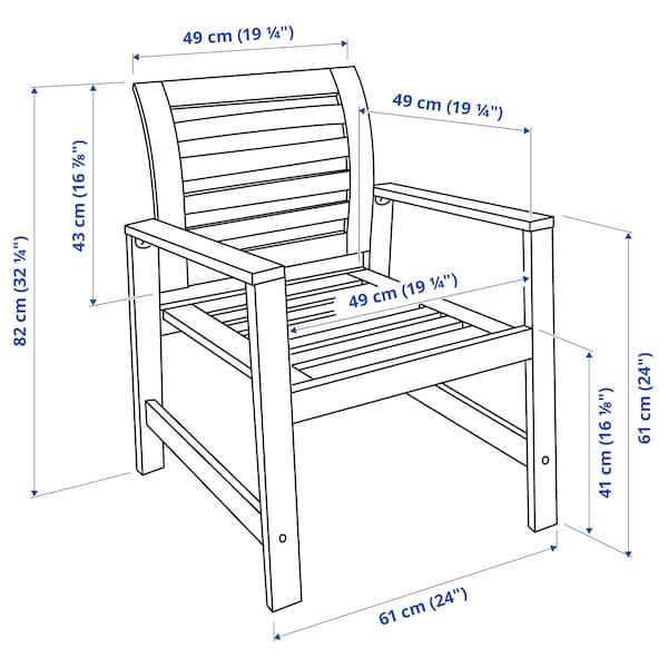 ÄPPLARÖ Cadeira c/braços, exterior, velatura castanha
