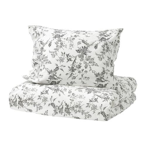 ALVINE KVIST Capa de edredão e fronha IKEA Em algodão percal, um fio fino densamente tecido, para um melhor conforto e sensação de frescura.