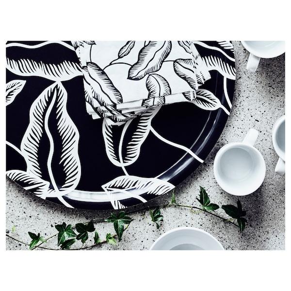 AVSIKTLIG Guardanapo de papel, branco/preto folha, 33x33 cm