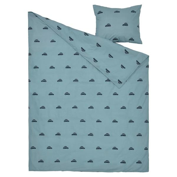 BARNDRÖM Capa de edredão+fronha, padrão de carro/azul, 150x200/50x60 cm