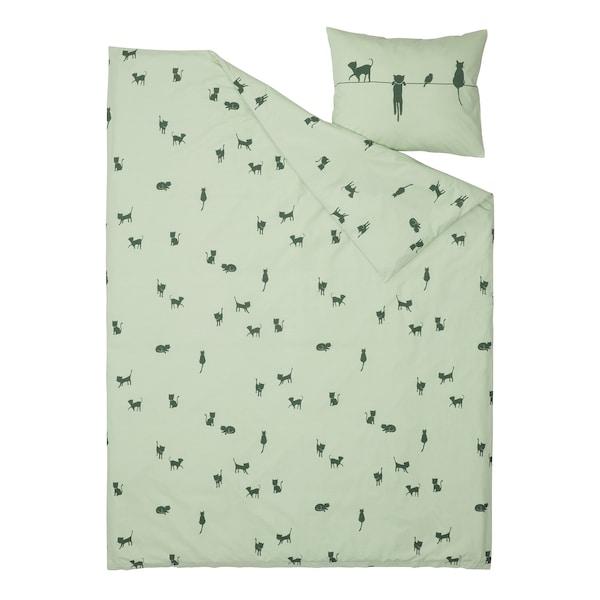 BARNDRÖM Capa de edredão+fronha, padrão de gato/verde, 150x200/50x60 cm
